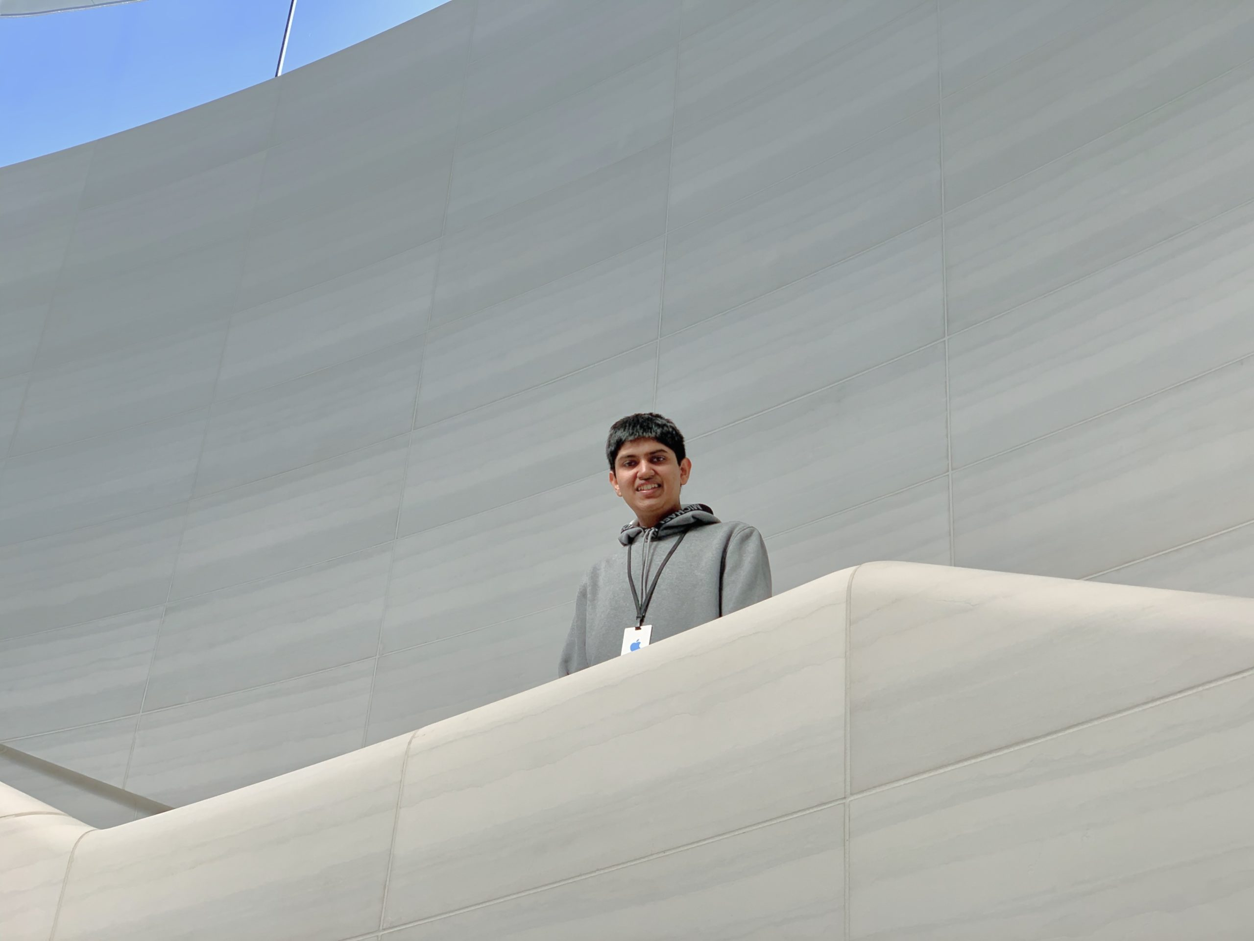 Vardhan Agrawal inside the Steve Jobs Theater after a meeting at Apple Park