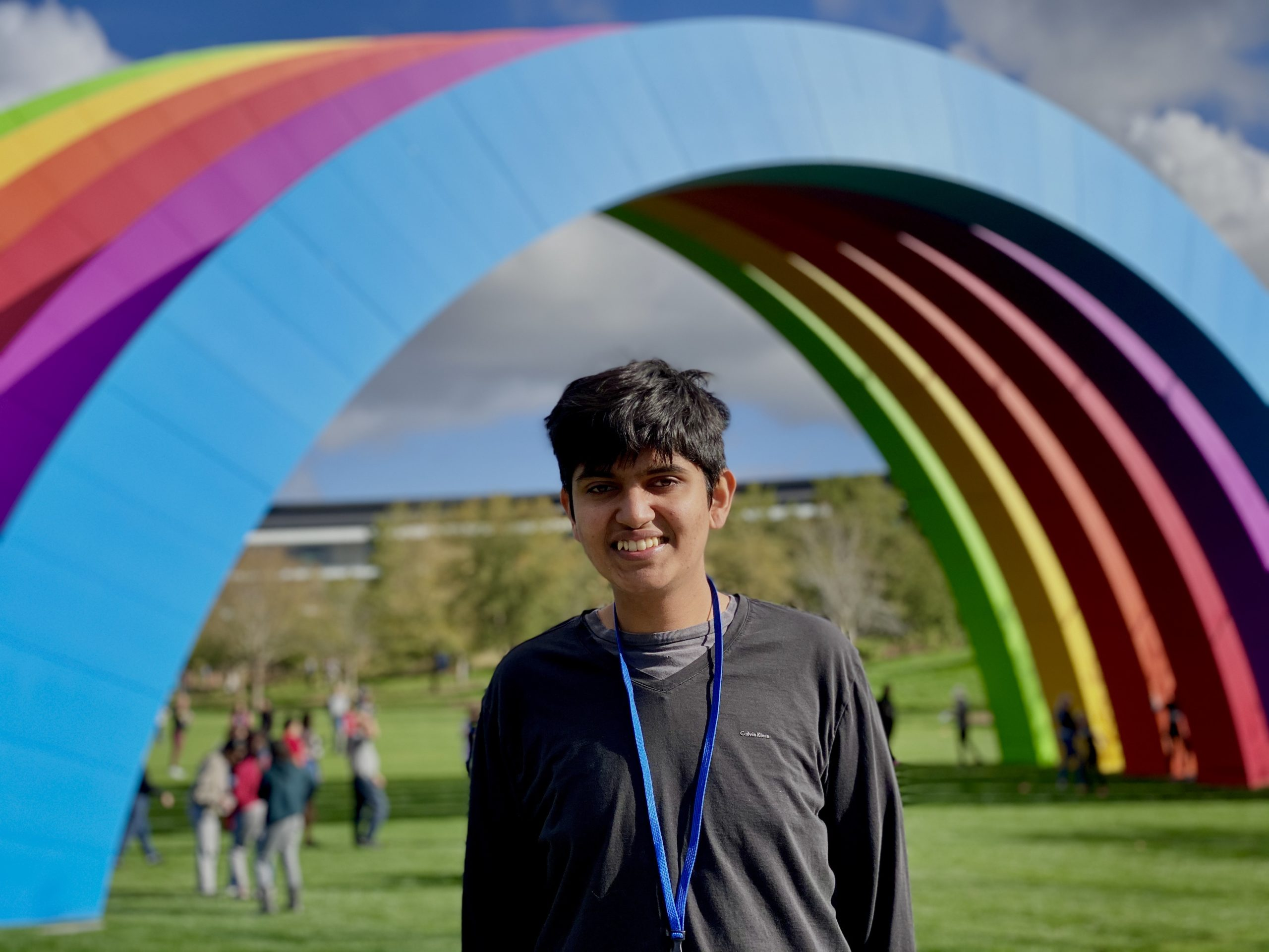 Vardhan Agrawal under the rainbow at the inside of Apple Park during an invite-only event